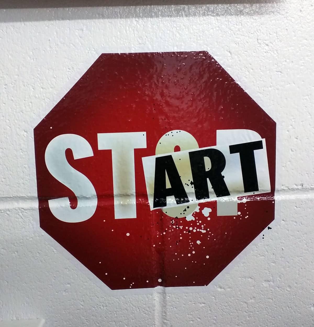 Dont stop just start art vinyl digital custom sticker printed on high adhesive vinyl for brick concreate and plastic