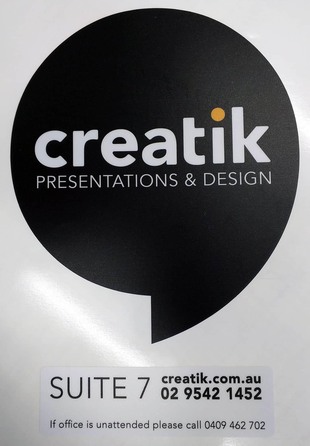 2016 06 creatik presentations and designs sydney new south wales custom office glass door sticker matte laminated
