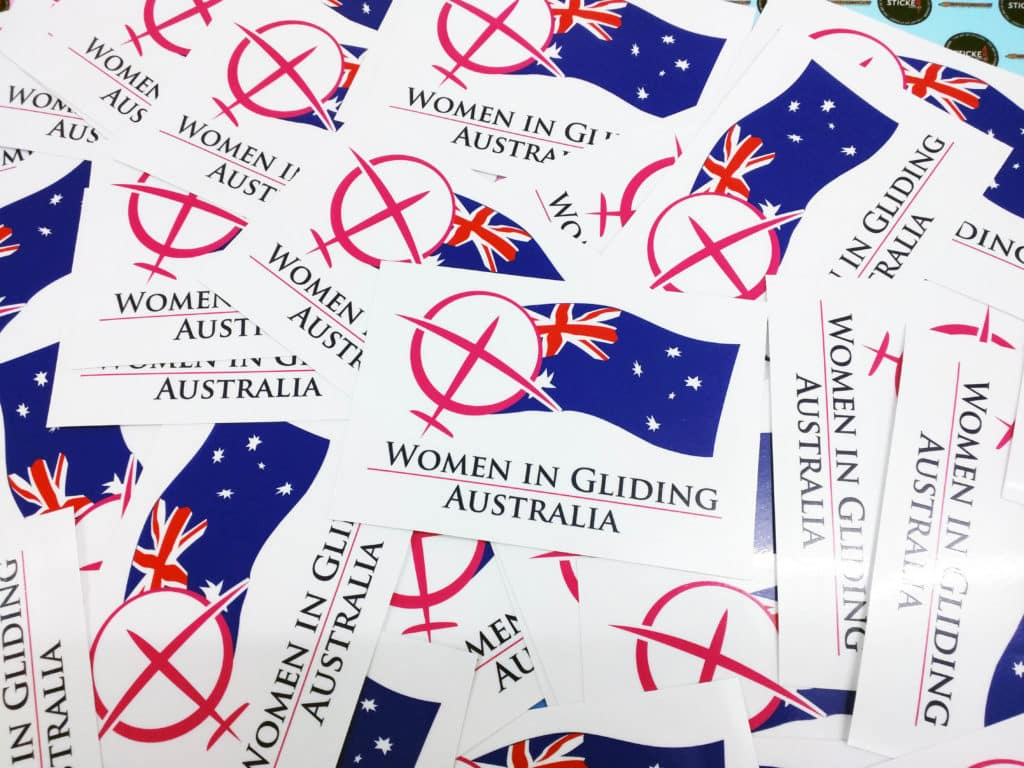 Woman in Gliding Australia Custom Printed Stickers