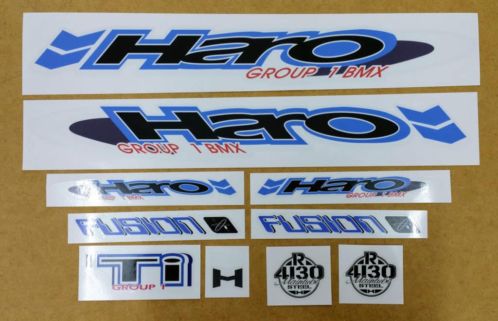 Reproduction stickers for haro bmx