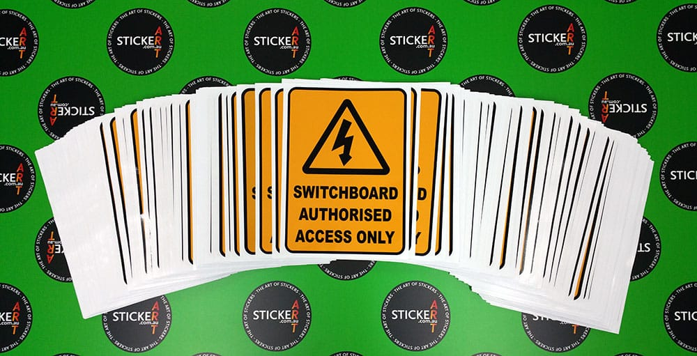 Switchboard authorised access only printed stickers for primo smallgoods wacol brisbane