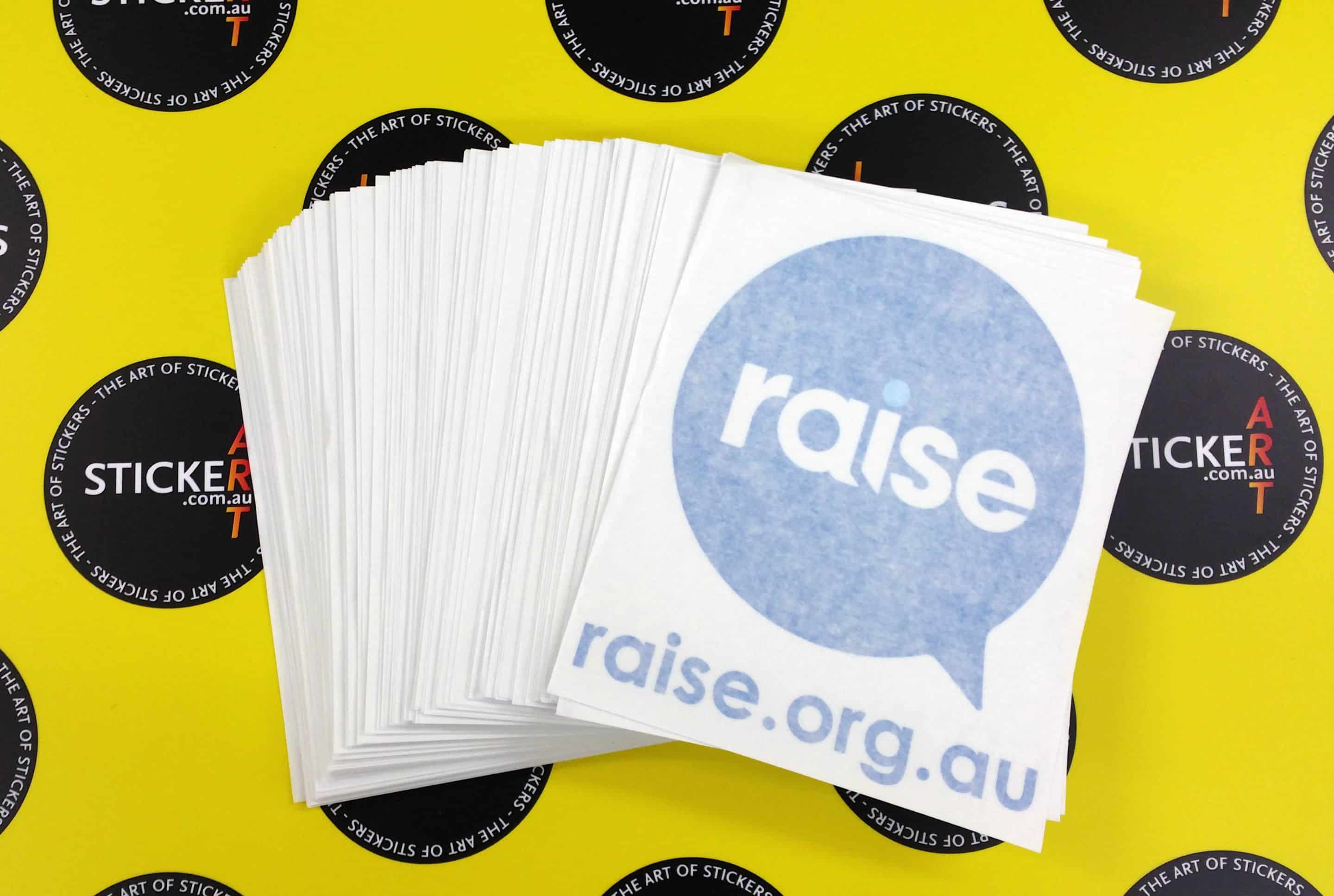 Printed and cut stickers for Raise Foundation