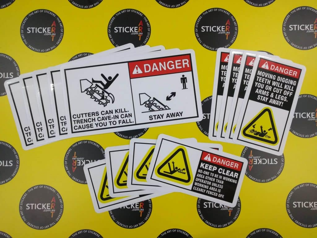Excavator safety stickers