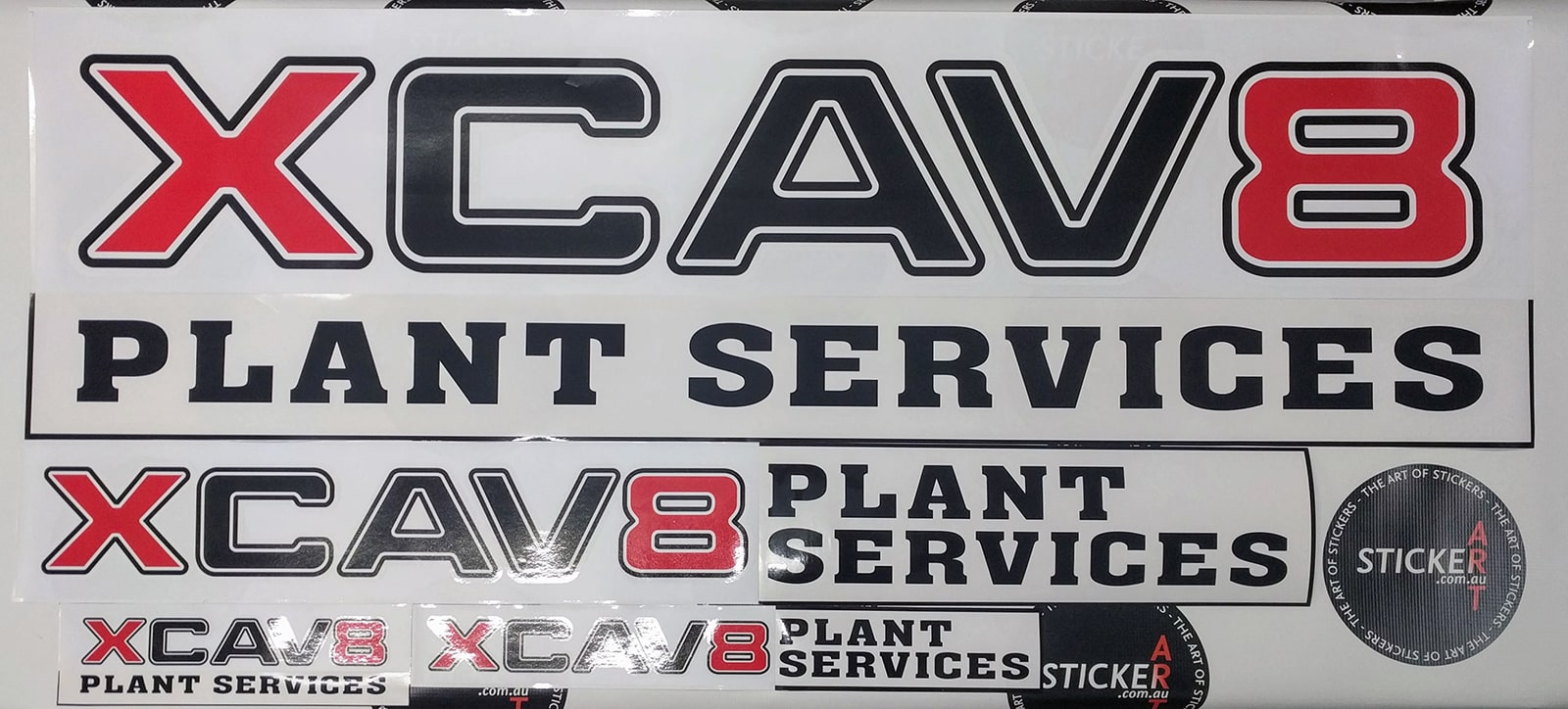 Custom made stickers and decals for XCAV8 Plant Services, Brisbane - Queensland