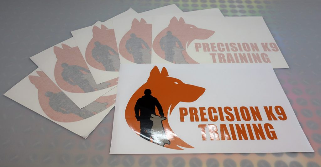 Printed and cut decals for Precision K9 Training based in Mariginiup, Western Australia.