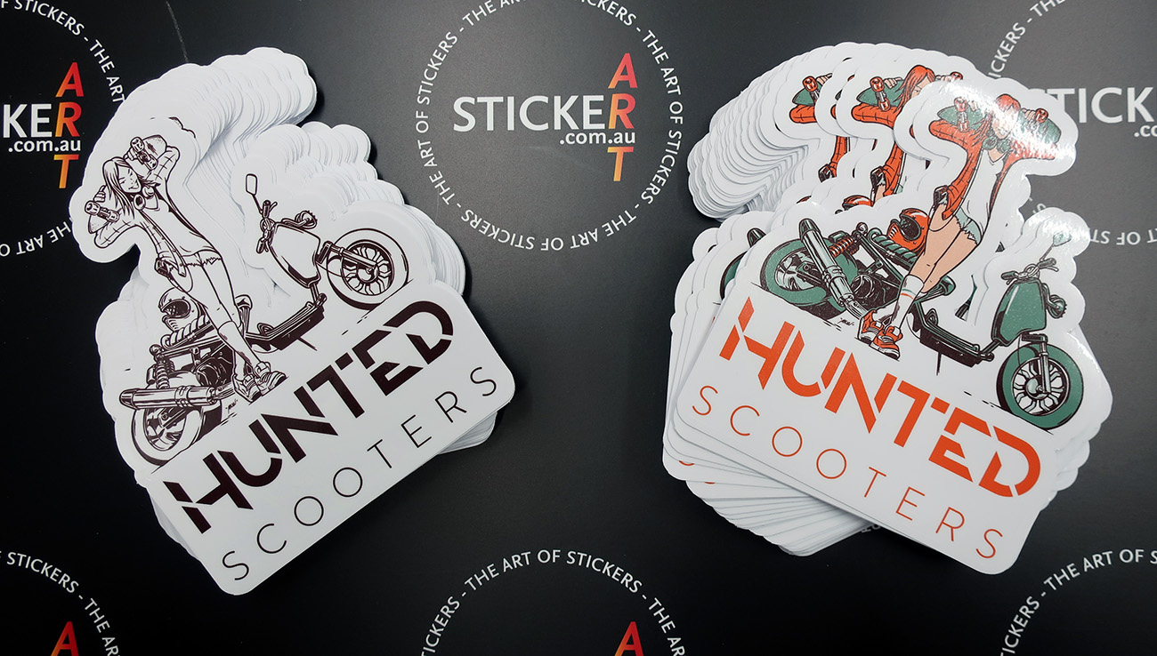 2018 06 hunted scooters custom contour cut printed stickers sydney nsw