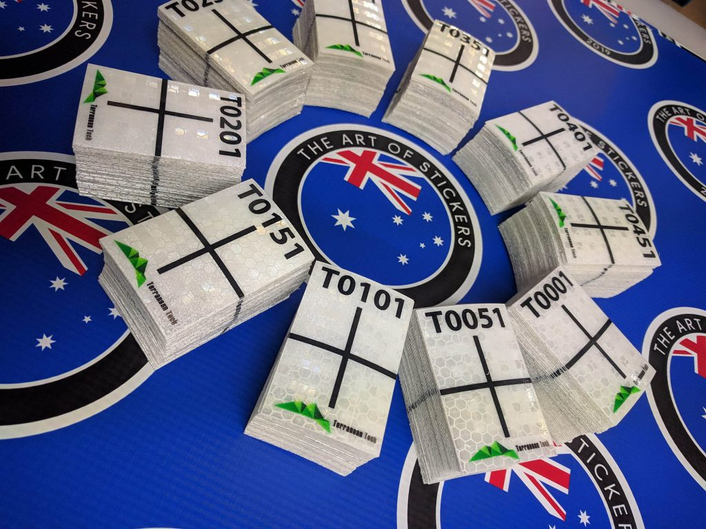 Sequential numbered survey targets printed on class 1 reflective self-adhesive vinyl.