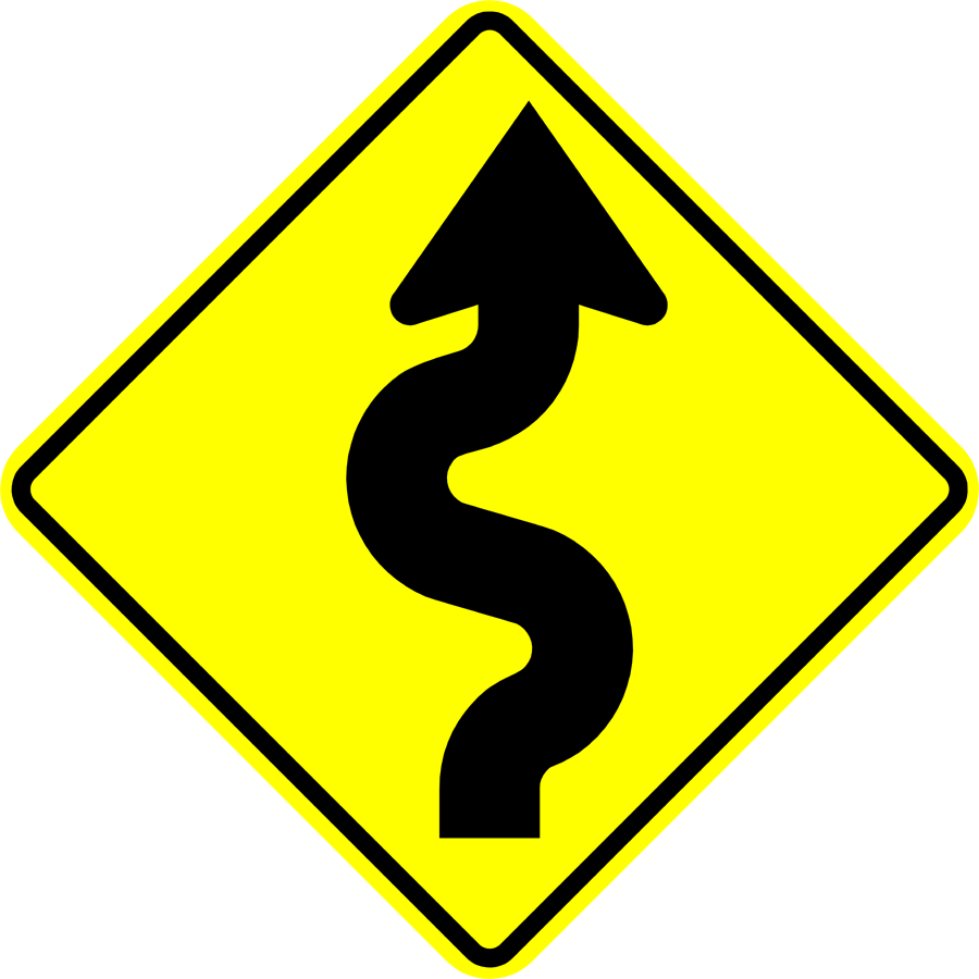 Traffic Signs - Winding Road Ahead