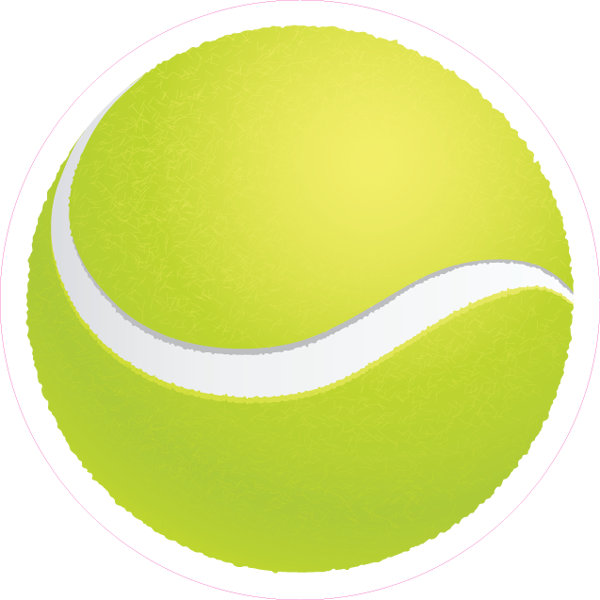 Tennis Ball Printed Die Cut Sticker