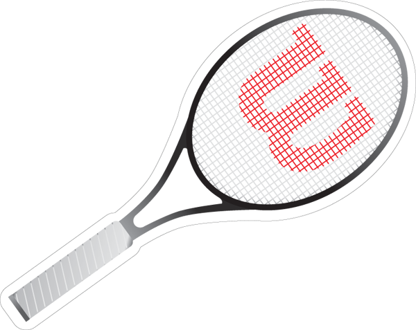Tennis Racquet Printed Die Cut Sticker