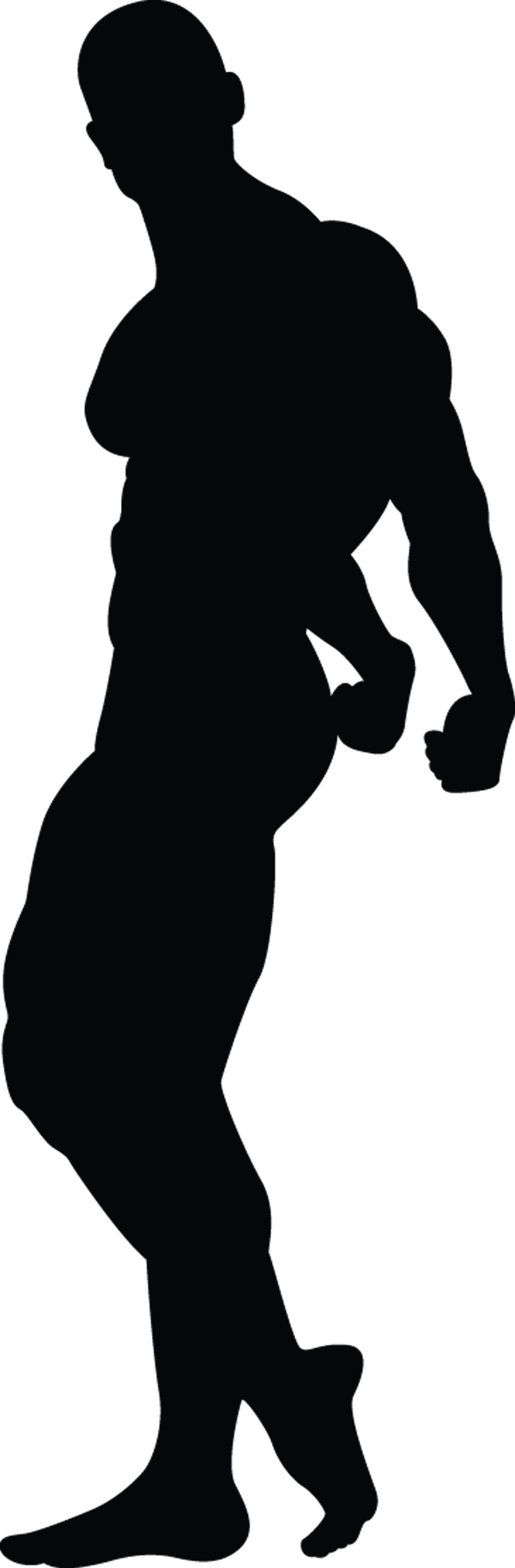 Man Muscle Pose Hands Behind Back Silhouette