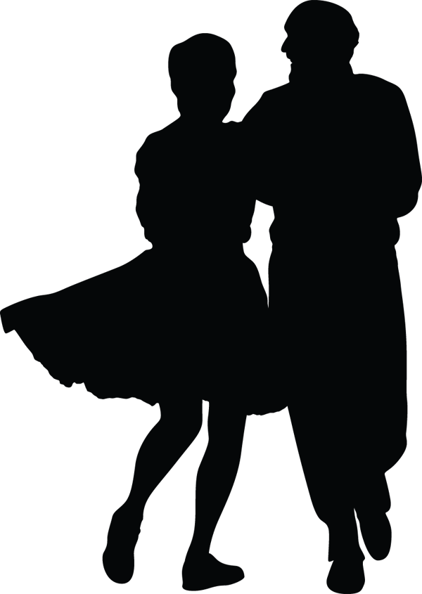 Woman Man Couple Swing Dancing Silhouette