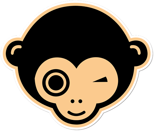 Black Eyed Monkey Printed Sticker