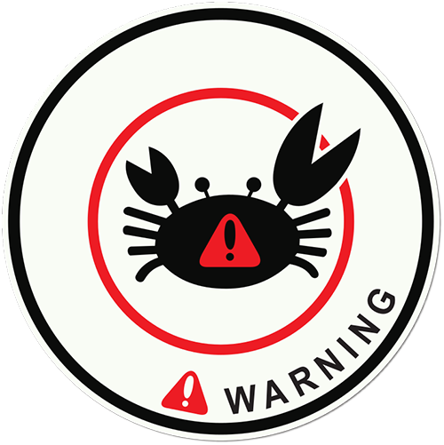 Warning Crab Printed Sticker
