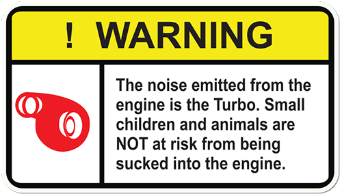 Warning Turbo Noise Printed Sticker