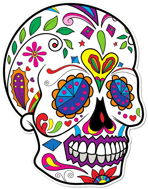 Sugar Skull Angry Leaf Printed Sticker