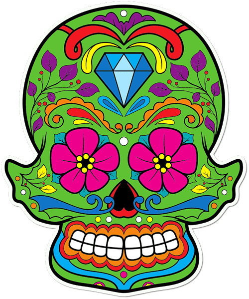 Sugar Skull Big Diamond Printed Sticker