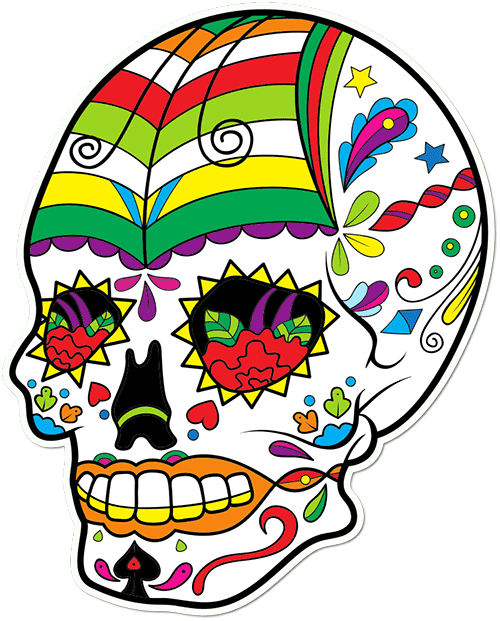 Sugar Skull Butterfly Kite Printed Sticker