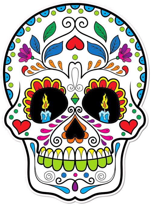 Sugar Skull Candle Eyes Printed Sticker