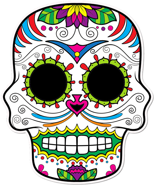Sugar Skull Cat whiskers Printed Sticker