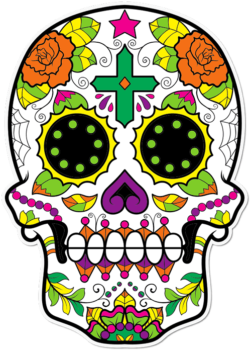 Sugar Skull Cross Printed Sticker