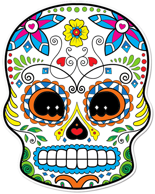 Sugar Skull Curly Eyebrows Printed Sticker