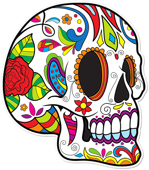 Sugar Skull Curly Lines Printed Sticker