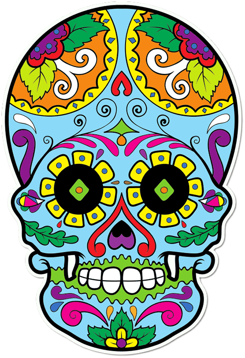 Sugar Skull Dark Eyes Printed Sticker