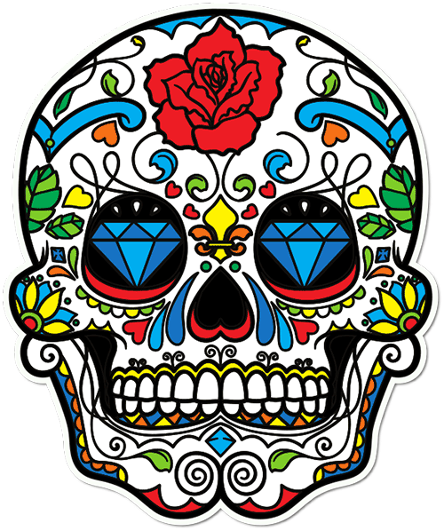 Sugar Skull Diamond Eyes Printed Sticker
