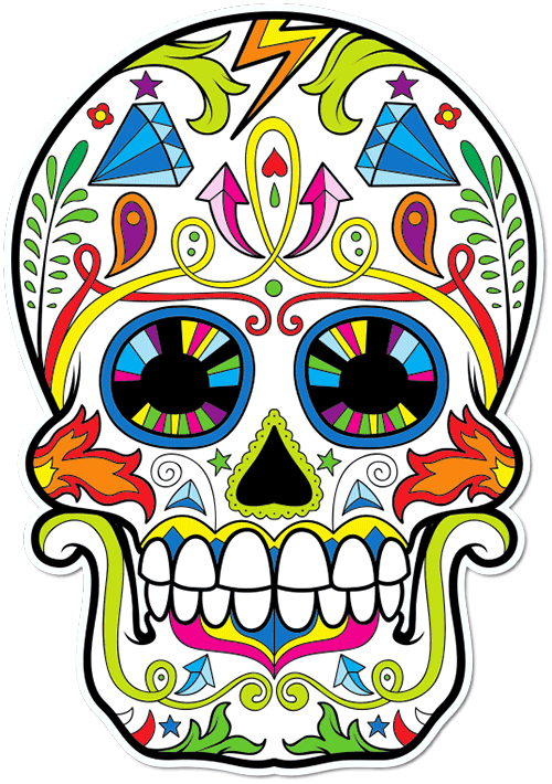 Sugar Skull Diamonds Printed Sticker