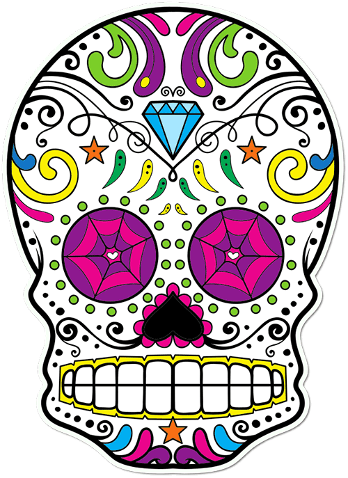 Sugar Skull Diamond Tiara Printed Sticker