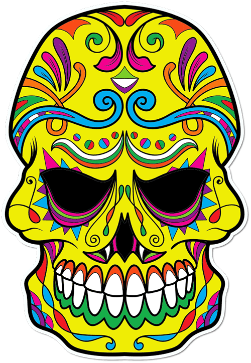Sugar Skull Evil Eyes Printed Sticker