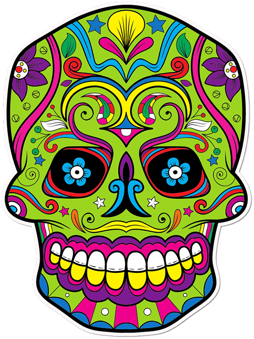 Sugar Skull Evil Moustache Printed Sticker