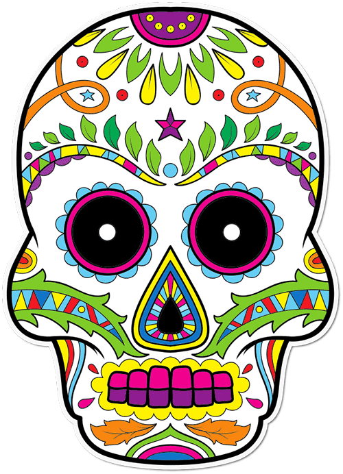 Sugar Skull Eyebrows Printed Sticker