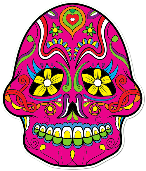 Sugar Skull Eyelashes Printed Sticker