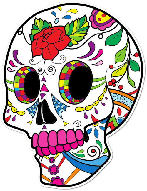 Sugar Skull Girly Printed Sticker