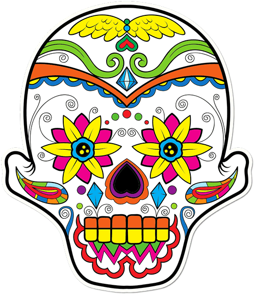 Sugar Skull Wings Printed Sticker