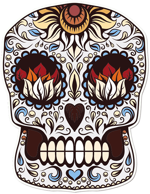 Sugar Skull Autumn Leaves Printed Sticker