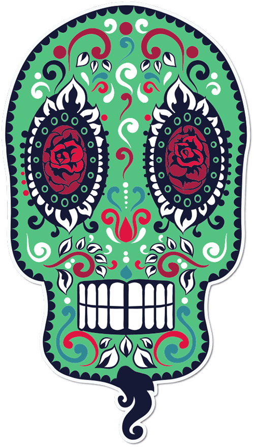 Sugar Skull Bearded Printed Sticker