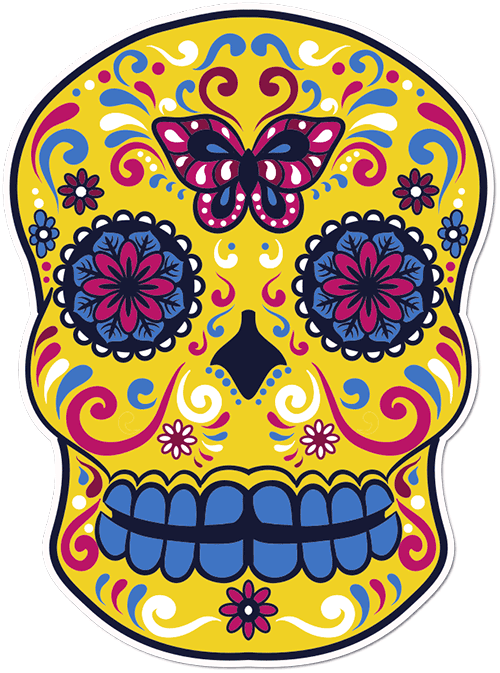 Sugar Skull Butterfly Printed Sticker