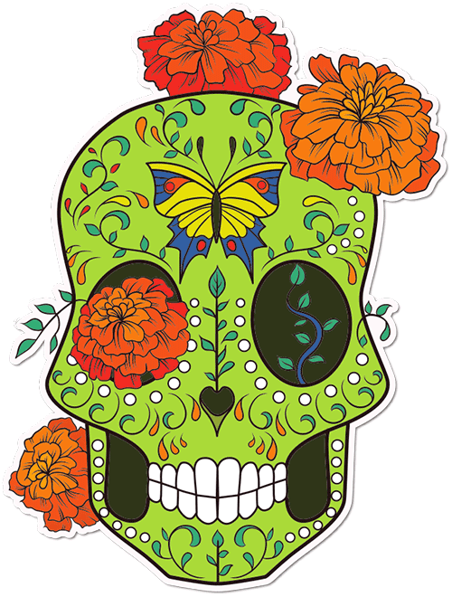 Sugar Skull Butterfly Garden Printed Sticker
