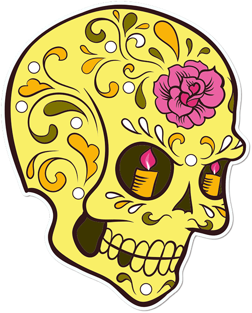 Sugar Skull Candle Eyes Flower Printed Sticker