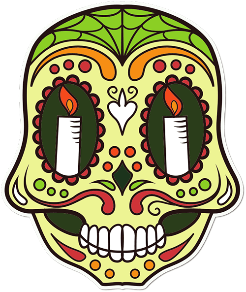 Sugar Skull Candles Printed Sticker