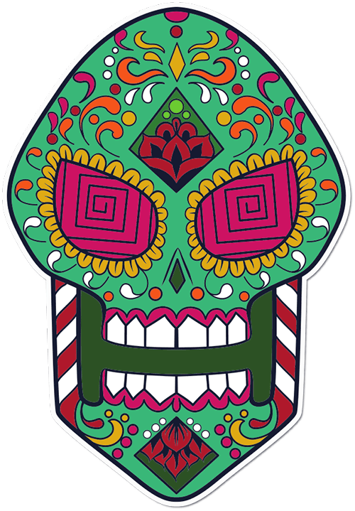 Sugar Skull Candy Cane Printed Sticker