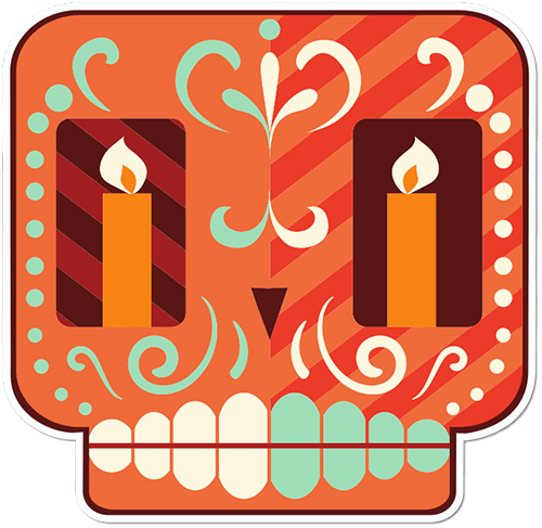 Sugar Skull Cartoon Candle Eyes Printed Sticker