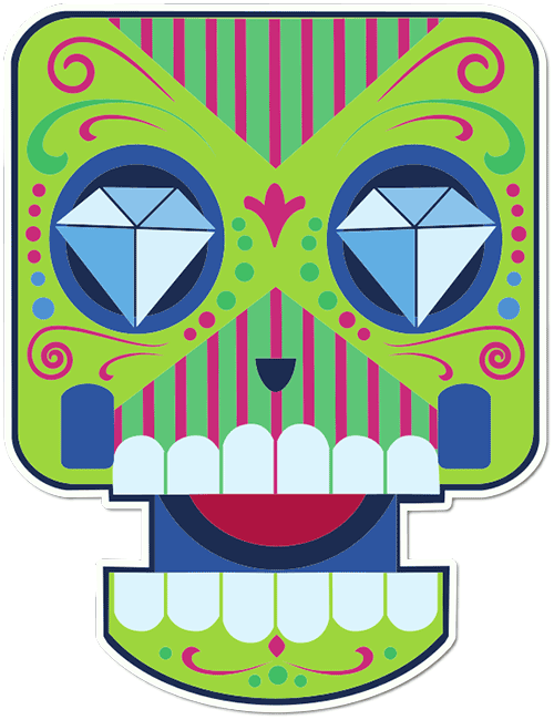 Sugar Skull Cartoon Diamond Eyes Printed Sticker