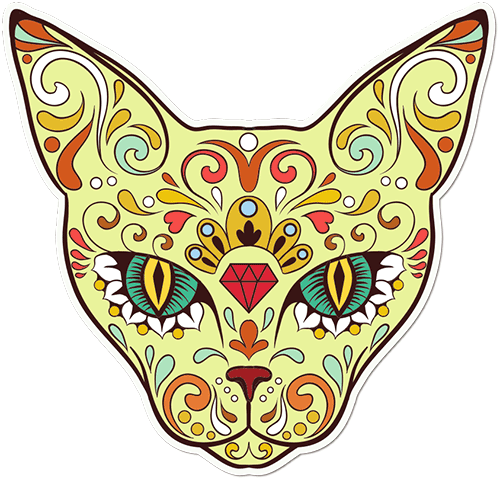 Sugar Skull Cat Diamond Printed Sticker