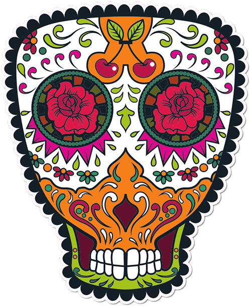 Sugar Skull Cherries Printed Sticker