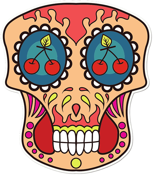 Sugar Skull Cherry Eyes Printed Sticker