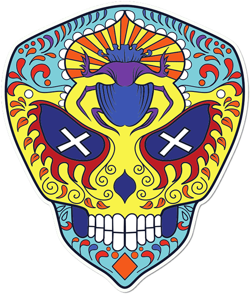 Sugar Skull Cross Eyed Printed Sticker